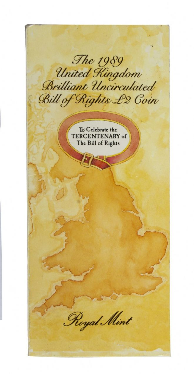 1989 Bill Of Rights £2 Brilliant Uncirculated pack for sale